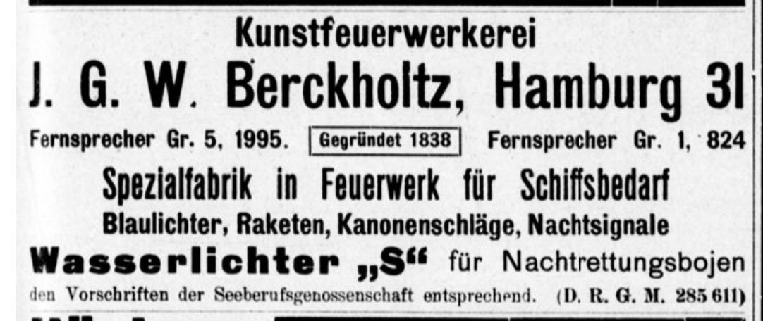 Berckholtz Kunstfeuerwerkerei 1912