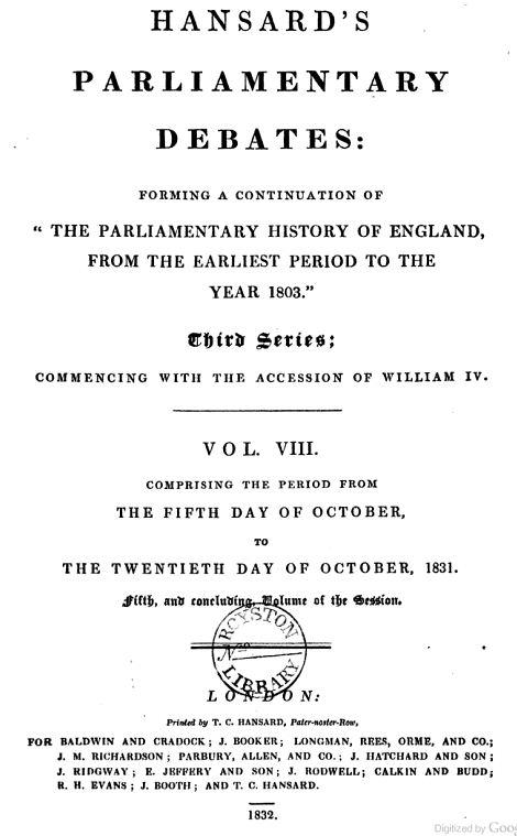 Hansard 1831