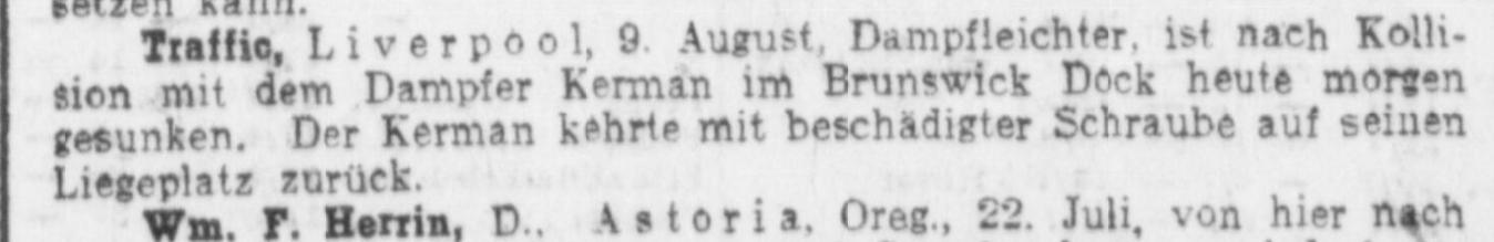 Kerman Liverpool 9. August 1915