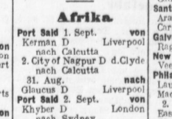 Liverpool, Calcutta, Kerman 1915