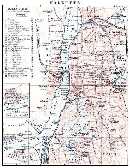 Calcutta city map 1912