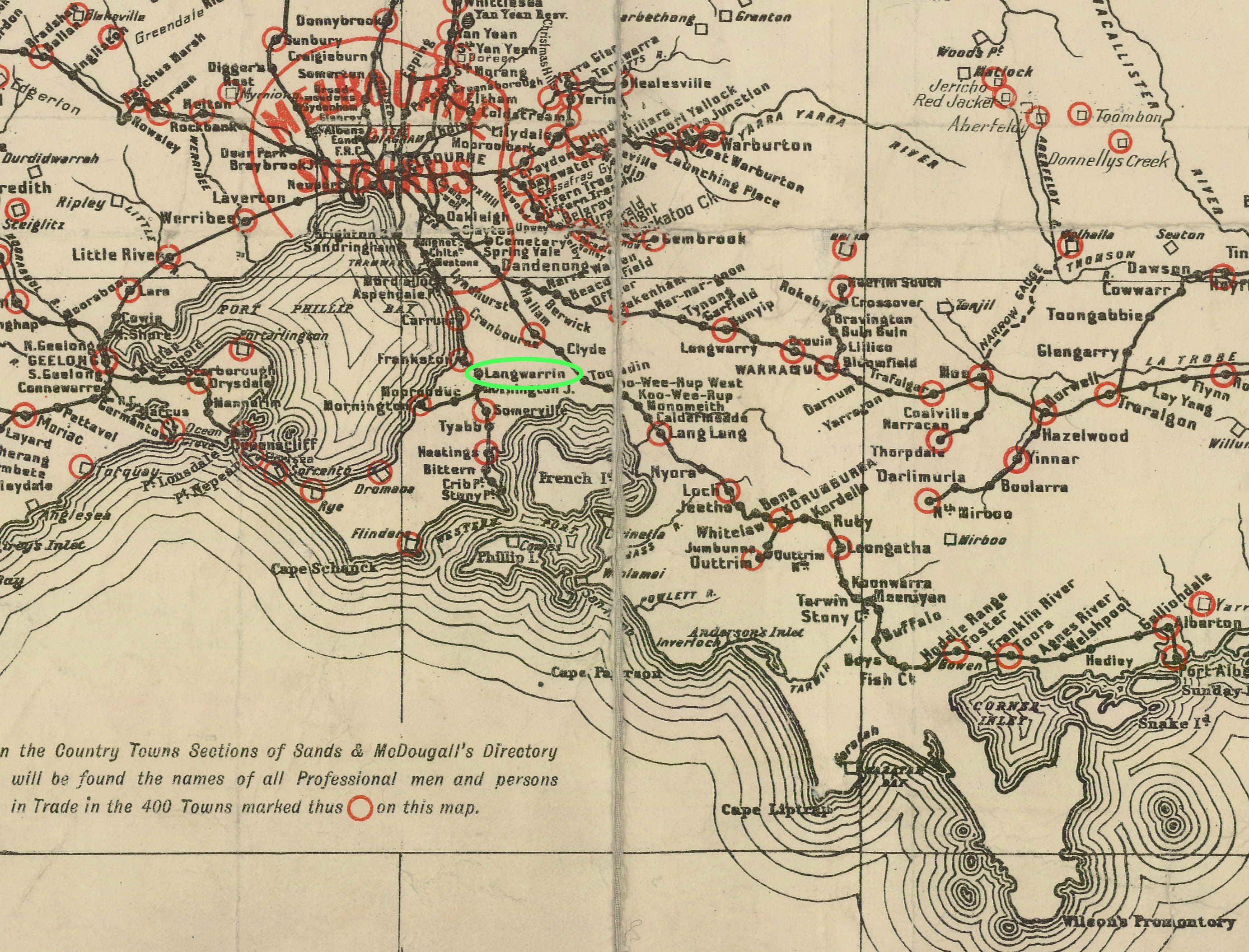 Melbourne, Langwarrin, map 1907