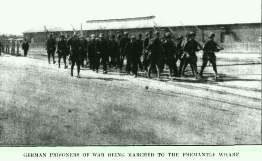 Fremantle Wharf, German Prisoners, August 1914