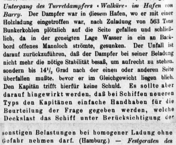 Walküre Unfall 1908