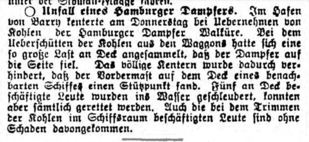 Unfall Walküre, Neue Hamburger Zeitung