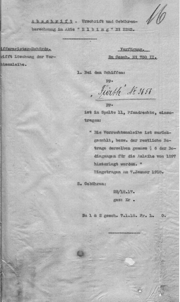 Pfandrecht, Schiff, 1917
