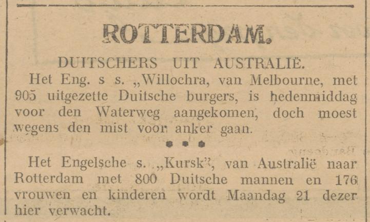 Willochra, Rotterdam, 1919