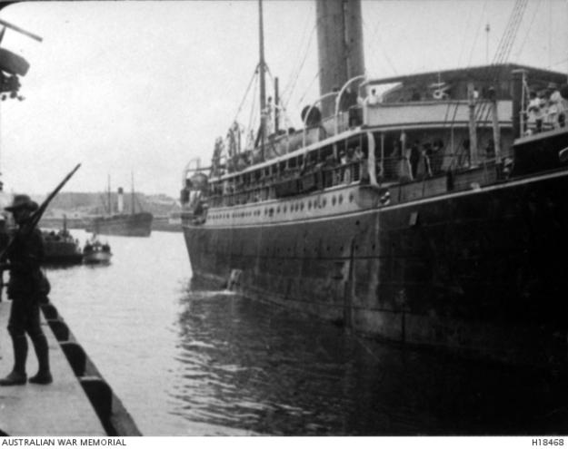 Sydney harbour, internees arrving for Liverpool camp, 1916
