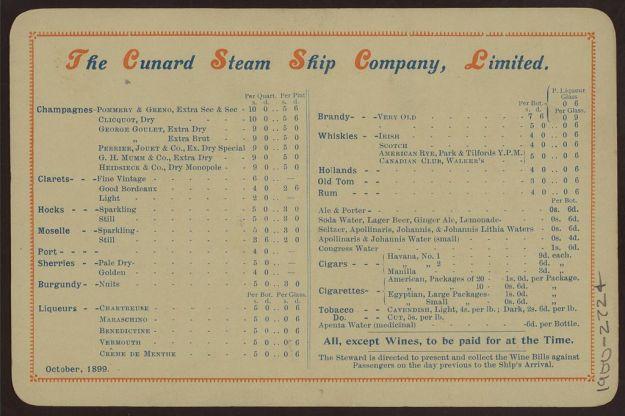 RMS Lucania menu October 1899