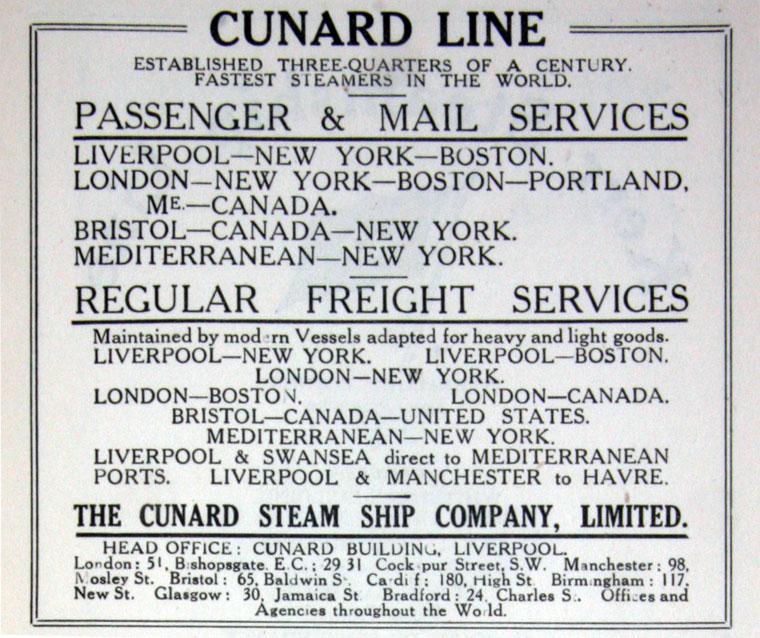 Cunard Line advertisement 1917