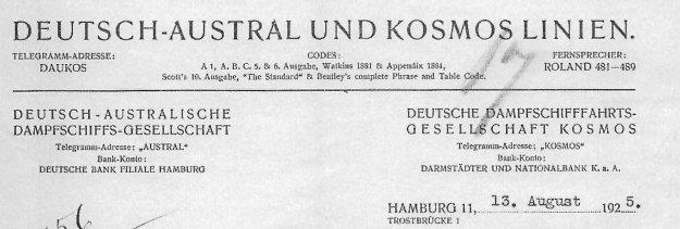 Briefkopf Deutsch-Austral und Kosmos-Linien