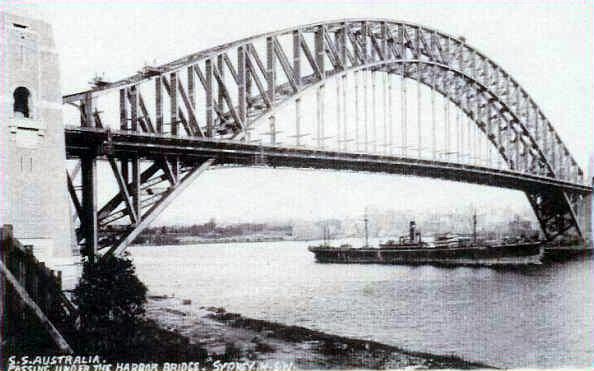 Australia (ship) under Harbour Bridge, 1932