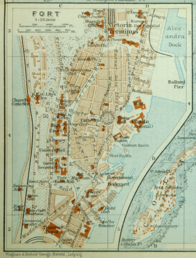 Bombay, Fort, 1914, map